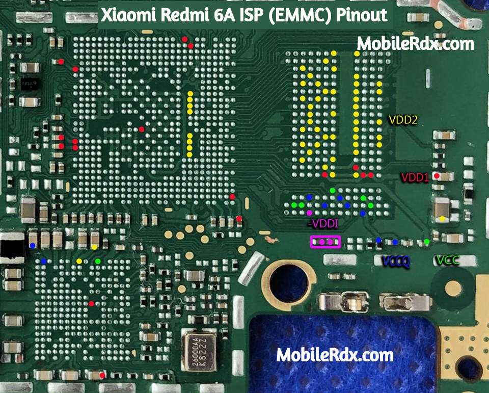 Xiaomi Redmi 6A ISP (EMMC) Pinout For Flashing And Remove MI