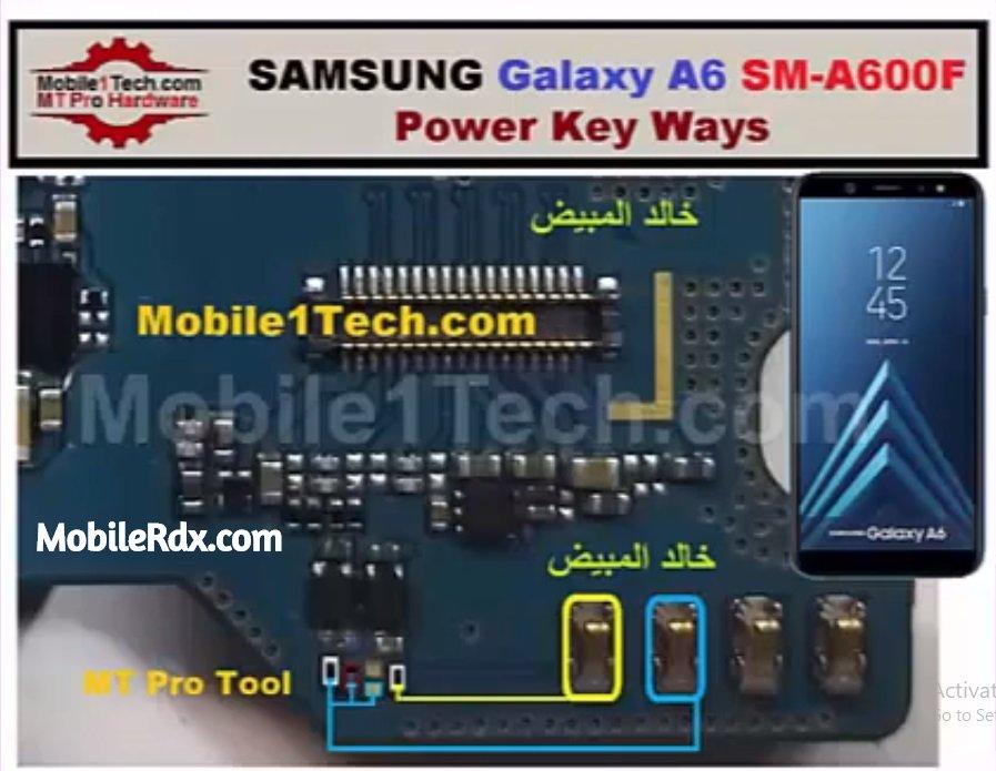 Samsung Galaxy A6 A600F Power Key Ways On Off Button Jumper