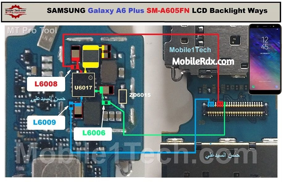 Samsung Galaxy A6 A605FN Display Light Solution LCD Light Ways