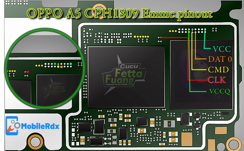 Oppo A5 CPH1809 Emmc Pinout For Flashing And Remove User Lock