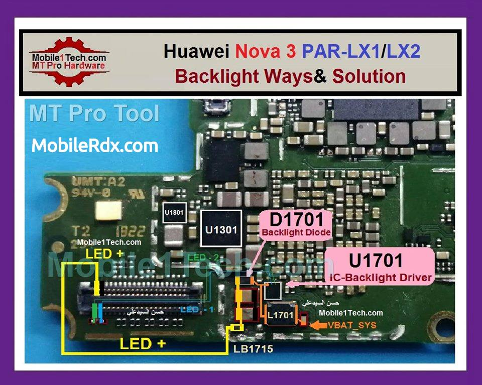 Huawei Nova 3 Backlight Ways and Display Jumper Solution