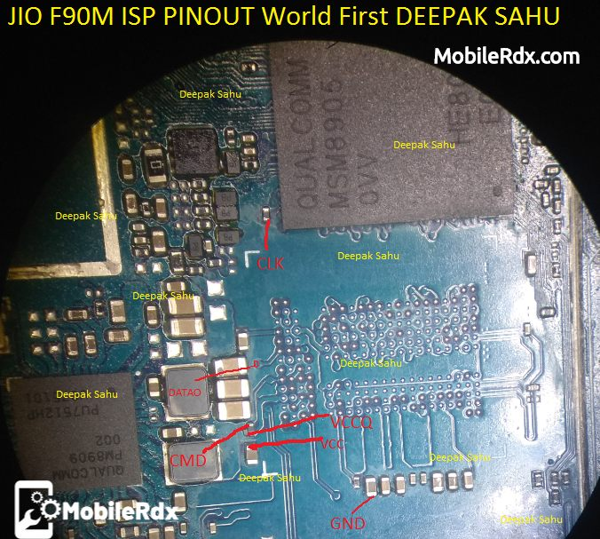 LYF Jio F90M ISP EMMC Pinout For EMMC Programming And Flashing