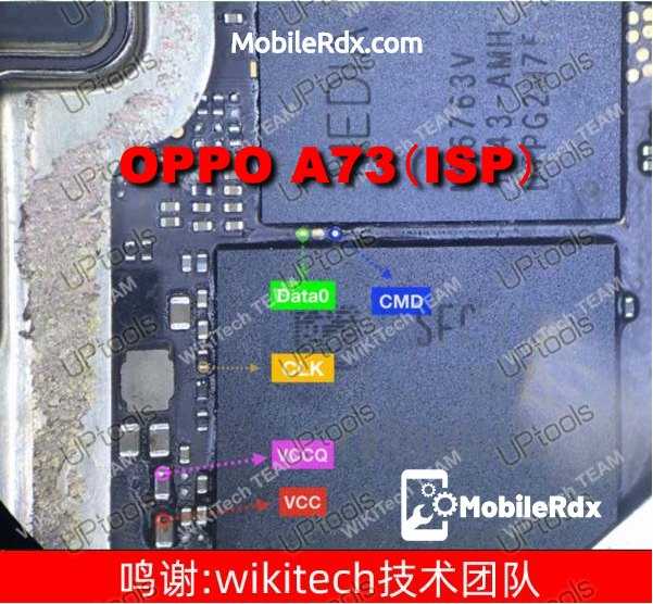 Oppo A73 ISP EMMC Pinout For EMMC Programming And Flashing