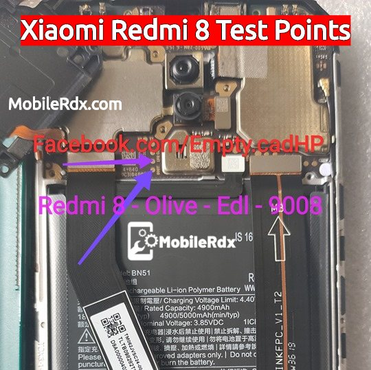 Redmi 8 EDL Mode PINOUT Xiaomi Redmi 8 Test Points