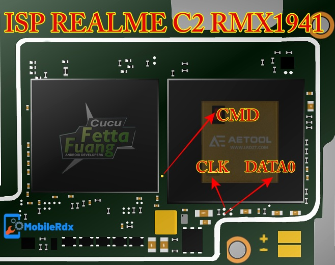 Realme C2 RMX1941 ISP EMMC Pinout For Remove User Lock And FRP