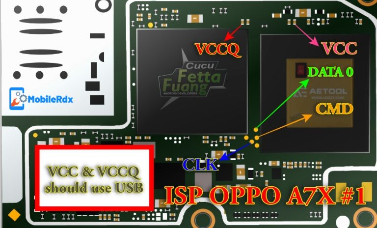 Oppo A7X ISP EMMC Pinout 1