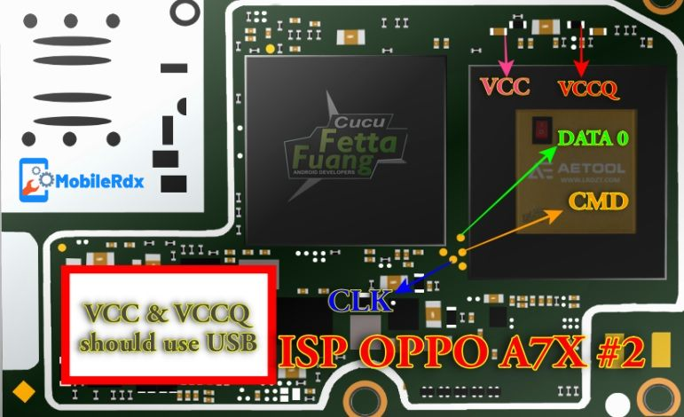 Oppo A7X ISP EMMC Pinout 2