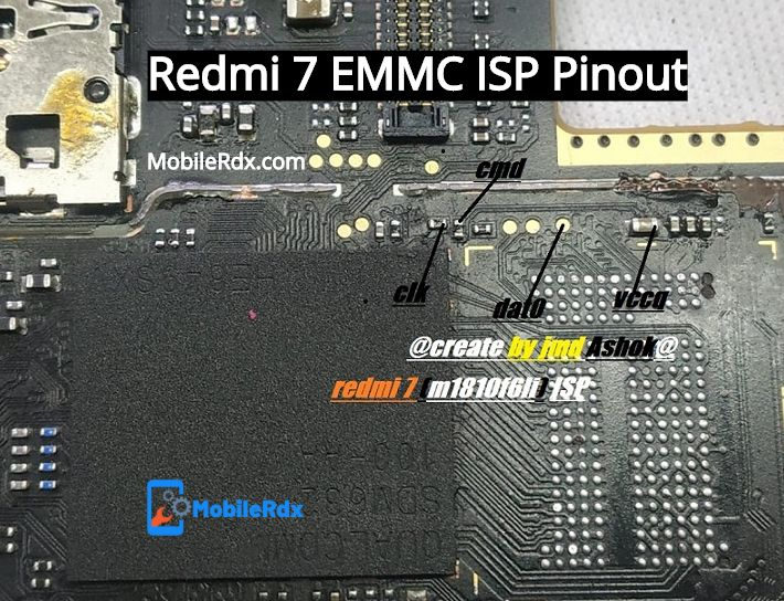 Redmi 7 ISP EMMC Pinout For Flashing Remove Pattern And FRP