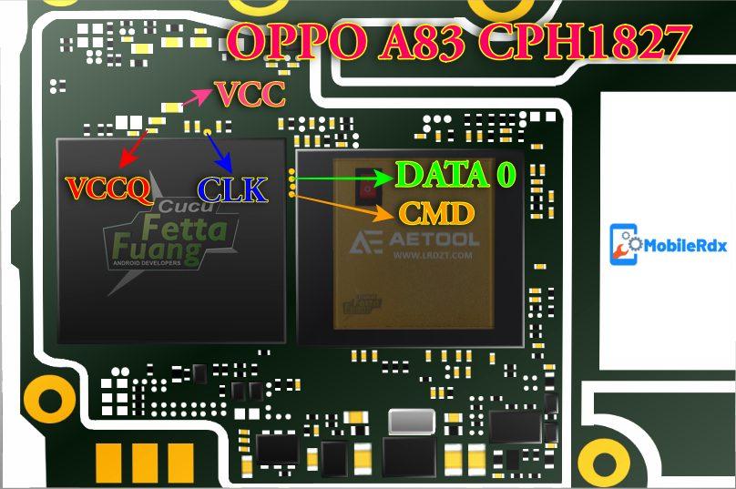 Oppo A83 CPH1827 ISP EMMC Pinout Ways