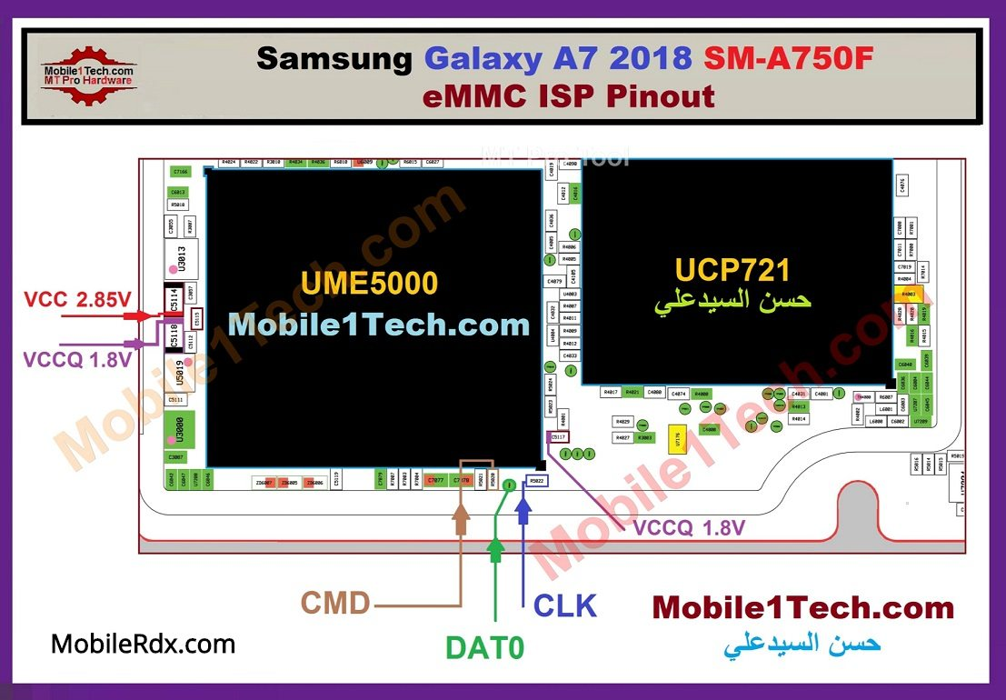 Samsung Galaxy A7 A750F EMMC ISP Pinout