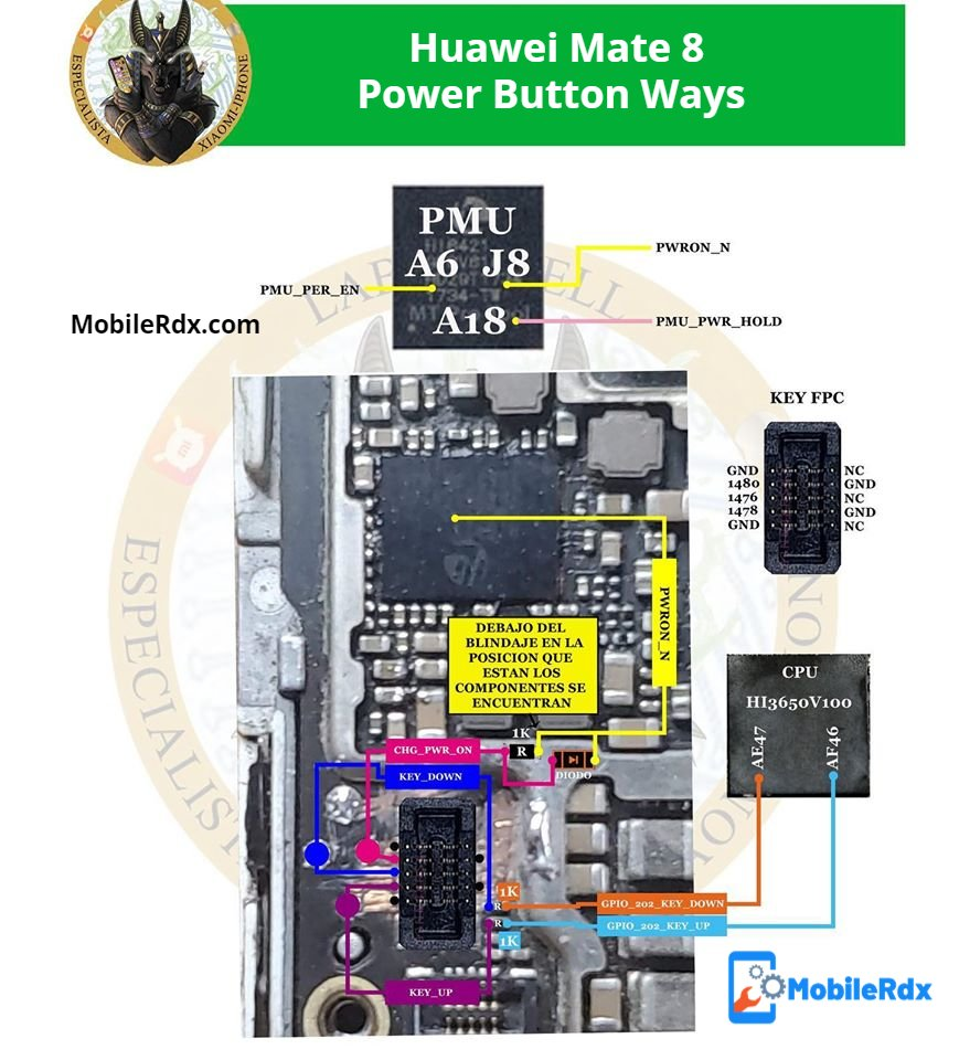 Huawei Mate 8 Power Button Ways Power Key Jumper