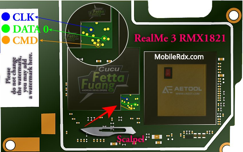 Realme 3 RMX1821 ISP EMMC Pinout