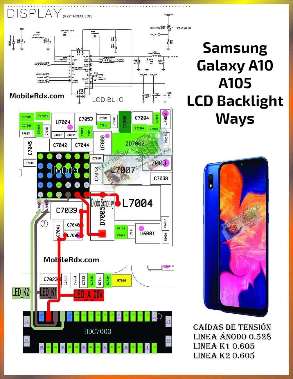 Samsung Galaxy A10 A105 LCD Backlight Ways Display Light Solution