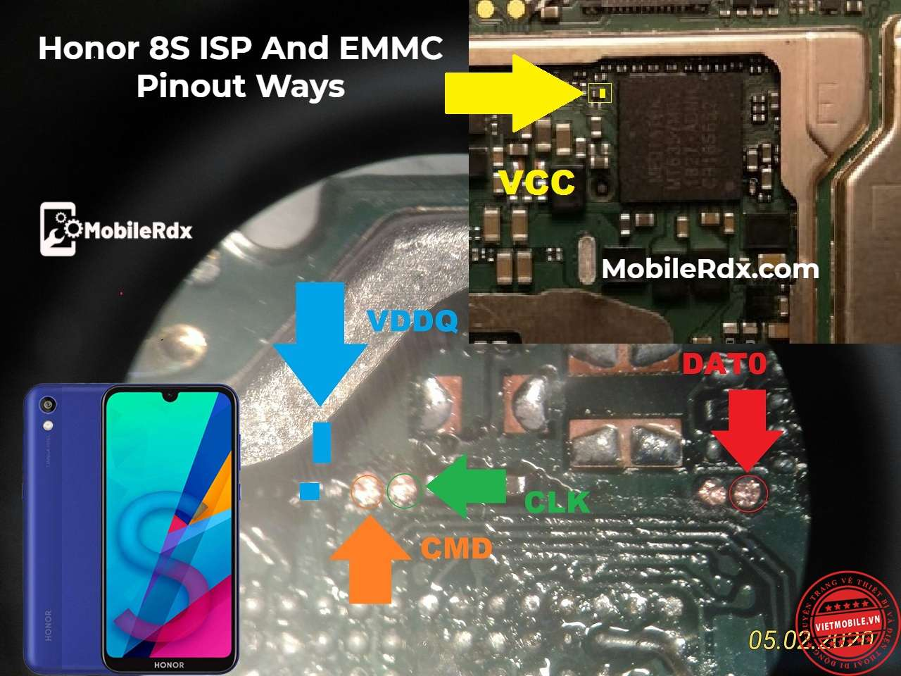 Honor 8S ISP And EMMC Pinout Ways For Remove Userlock And FRP