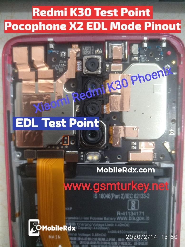 Redmi K30 Test Point Pocophone X2 EDL Mode Pinout
