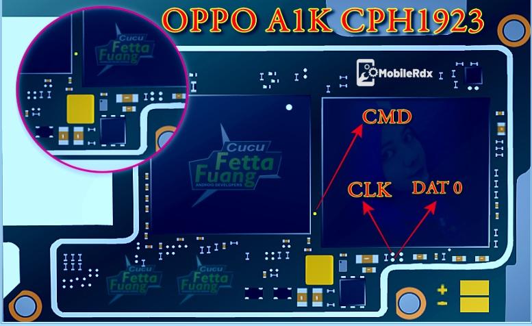Oppo A1K ISP Pinout EMMC Pinout
