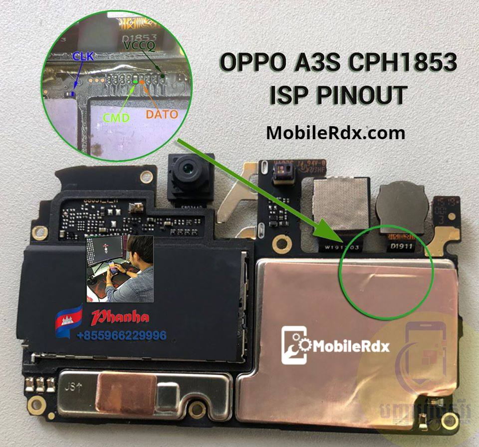 Oppo A3s CPH1853 ISP Pinout