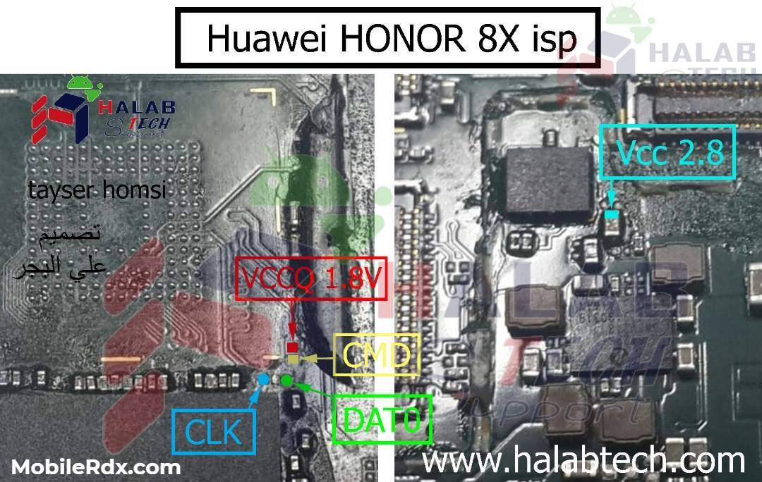 Honor 8X ISP Pinout to ByPass FRP and Pattern Lock