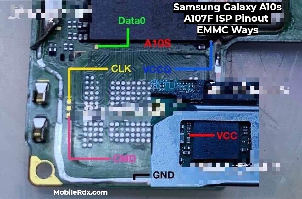 Samsung Galaxy A10s A107F ISP Pinout EMMC Ways