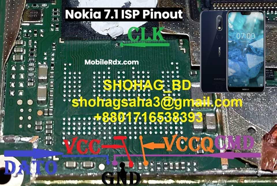 Nokia 7.1 ISP Pinout For EMMC Programming Dead Boot Repair