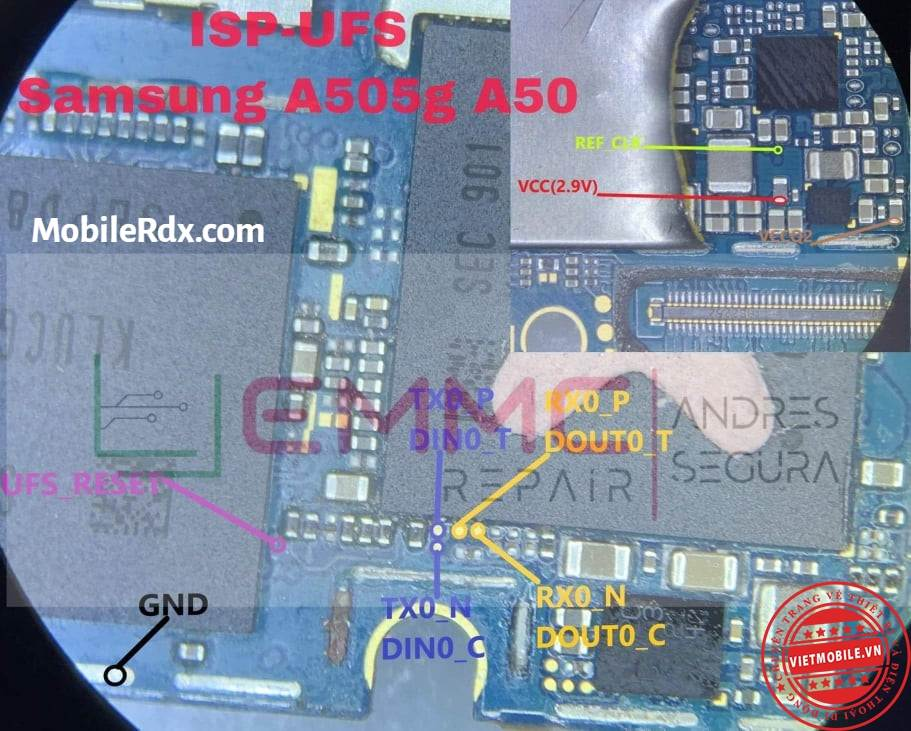 Samsung A50 A505F Tested Full UFS ISP Pinout