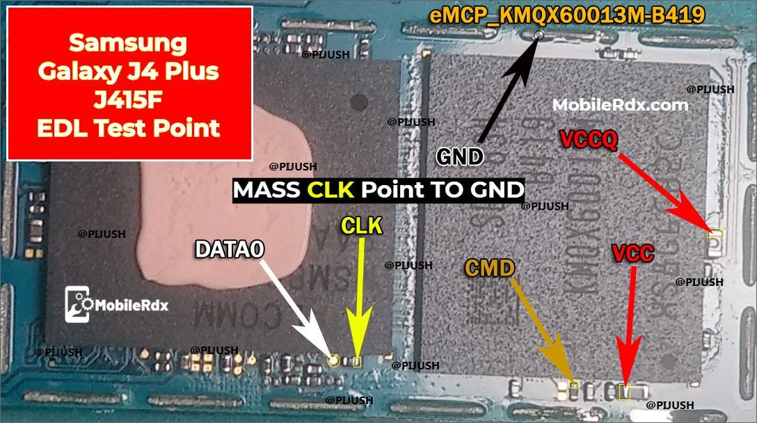 Samsung Galaxy J4 Plus J415F EDL Test Point EDL 9008 Mode