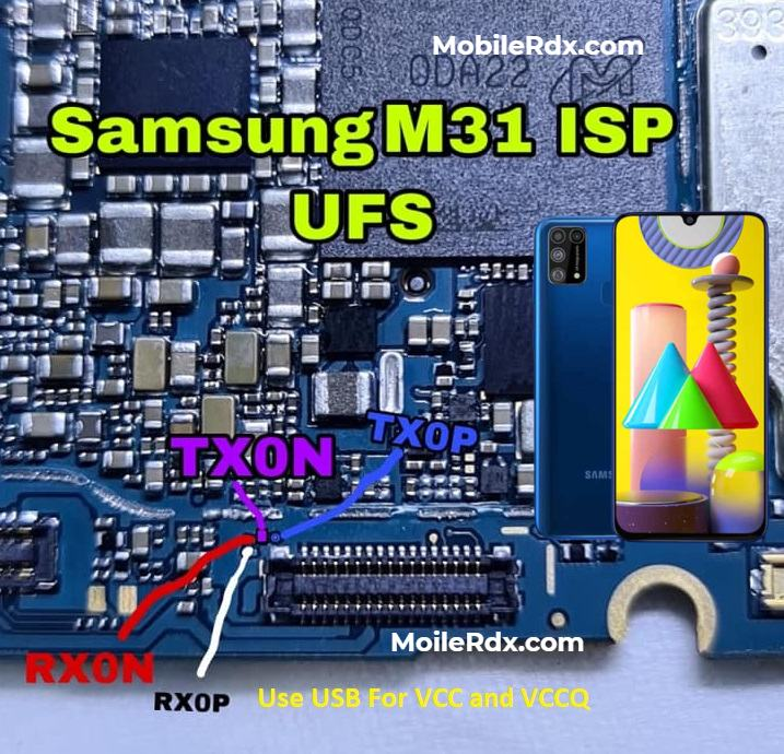 Samsung Galaxy M31 UFS ISP Pinout to ByPass FRP User Lock and Flashing