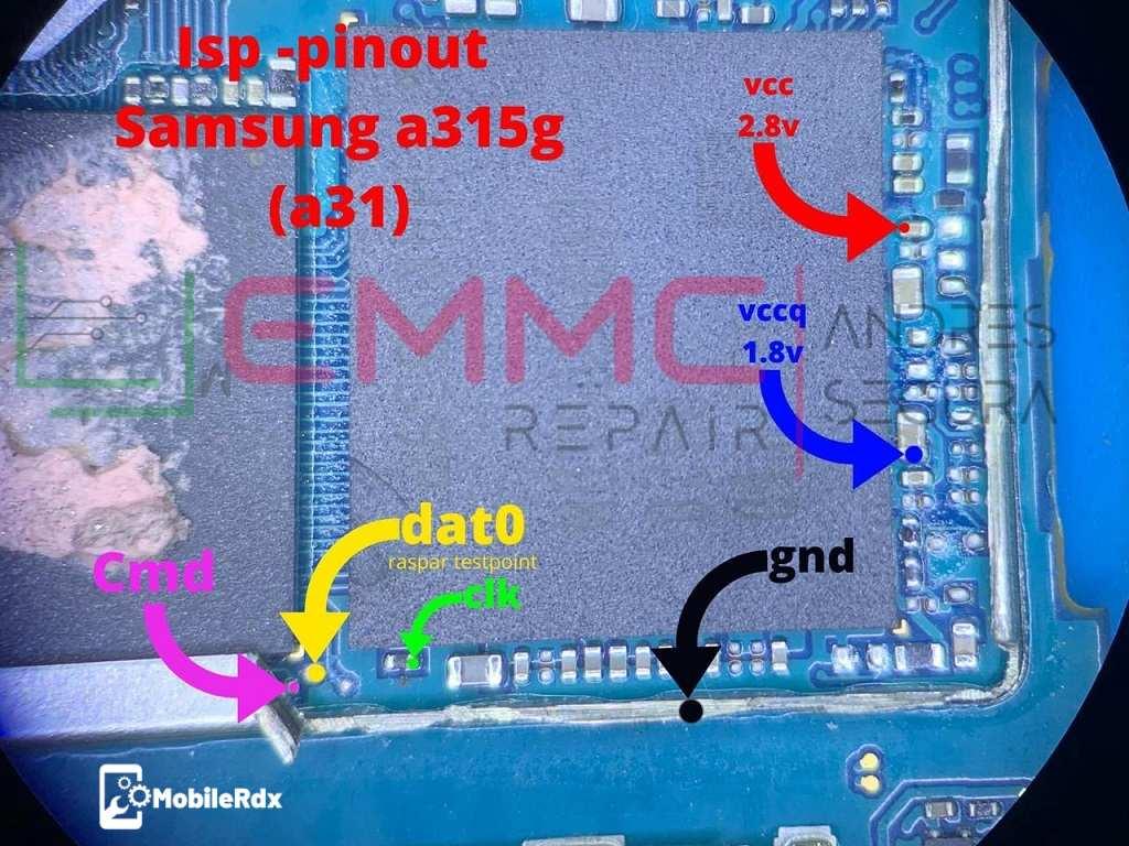 New Full Samsung Galaxy A31 A315 ISP EMMC PinOUT