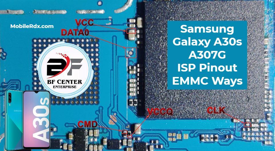 Samsung Galaxy A30s A307G ISP Pinout EMMC Ways