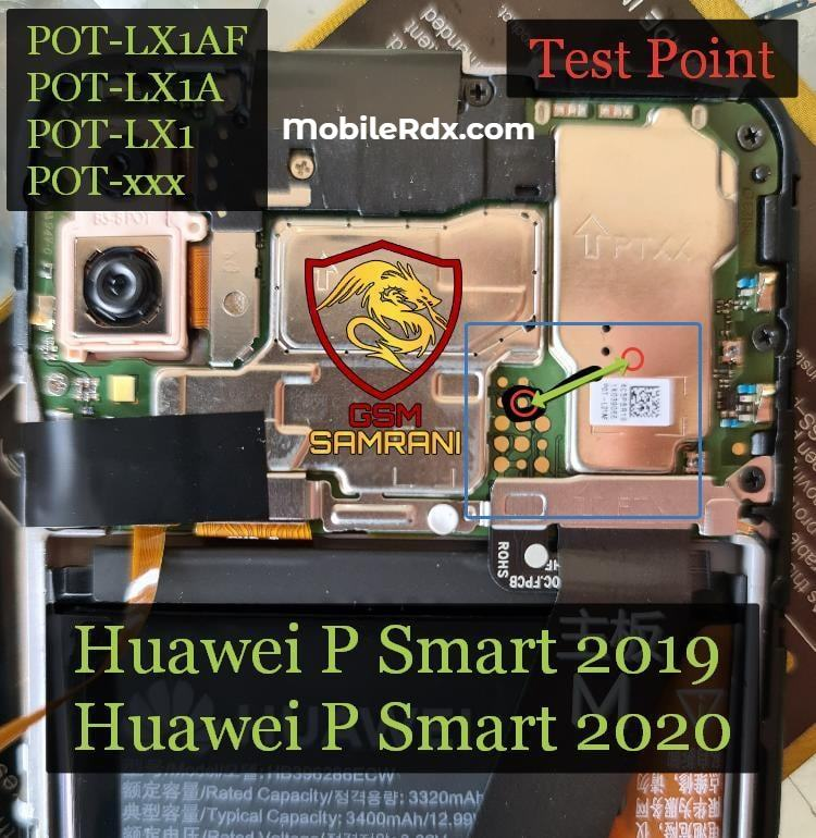 Huawei P Smart 2020 Test Point For Remove User Lock FRP And Flashing