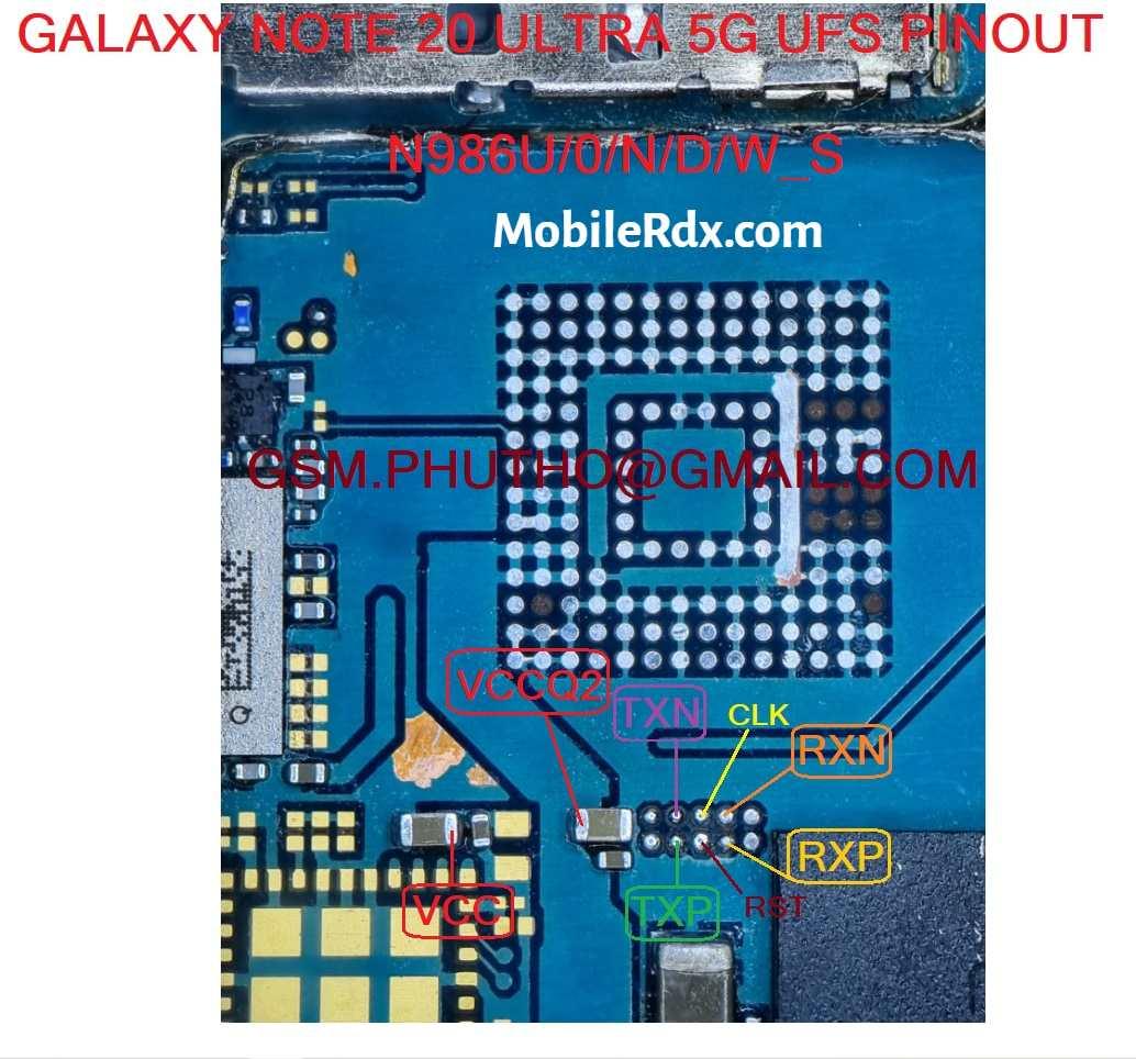 Samsung Galaxy S20 Ultra UFS ISP Pinout New