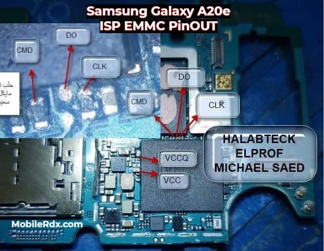 Samsung Galaxy A20e ISP EMMC PinOUT to ByPass FRP and Pattern Lock