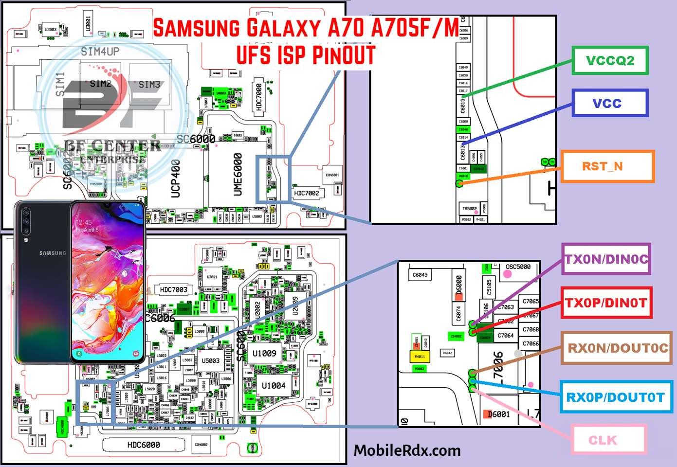 Samsung Galaxy A70 A705F M UFS ISP PinOUT   Test Point