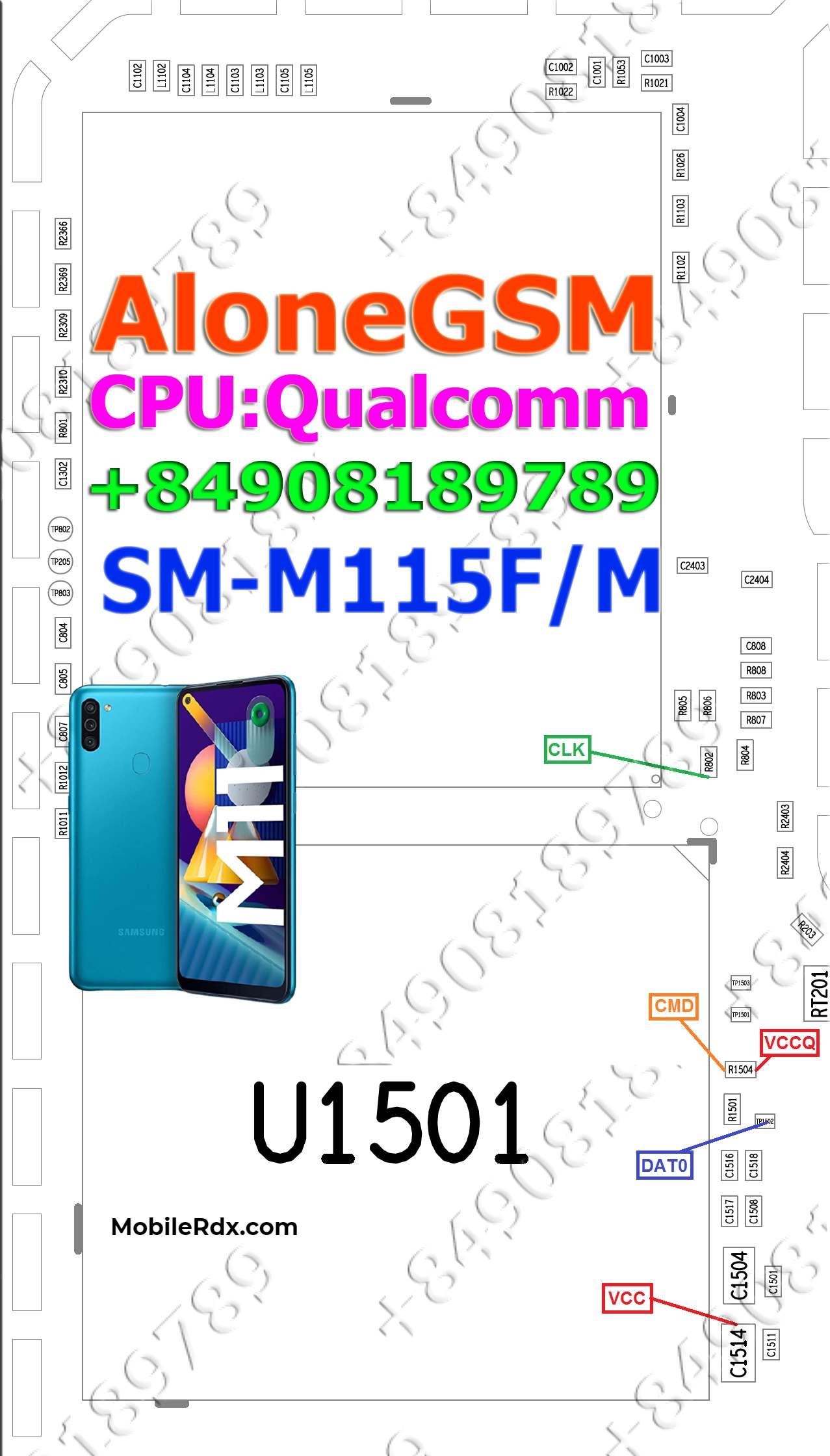 Samsung Galaxy M11 M115F EMMC ISP PinOUT to Remove Pattern FRP Lock