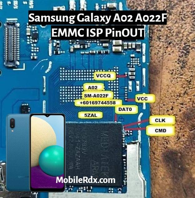 Samsung Galaxy A02 A022F EMMC ISP PinOUT