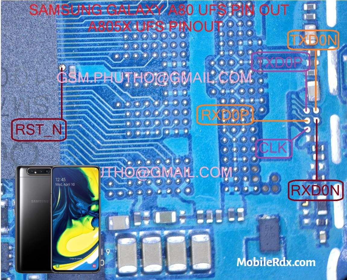 Samsung Galaxy A80 A805F UFS ISP Pinout   Test Point