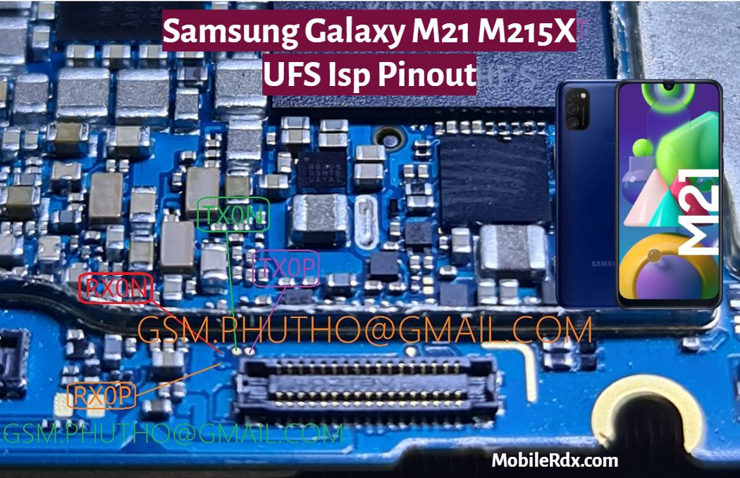 Samsung Galaxy M21 UFS ISP Pinout to ByPass FRP User Lock and Flashing