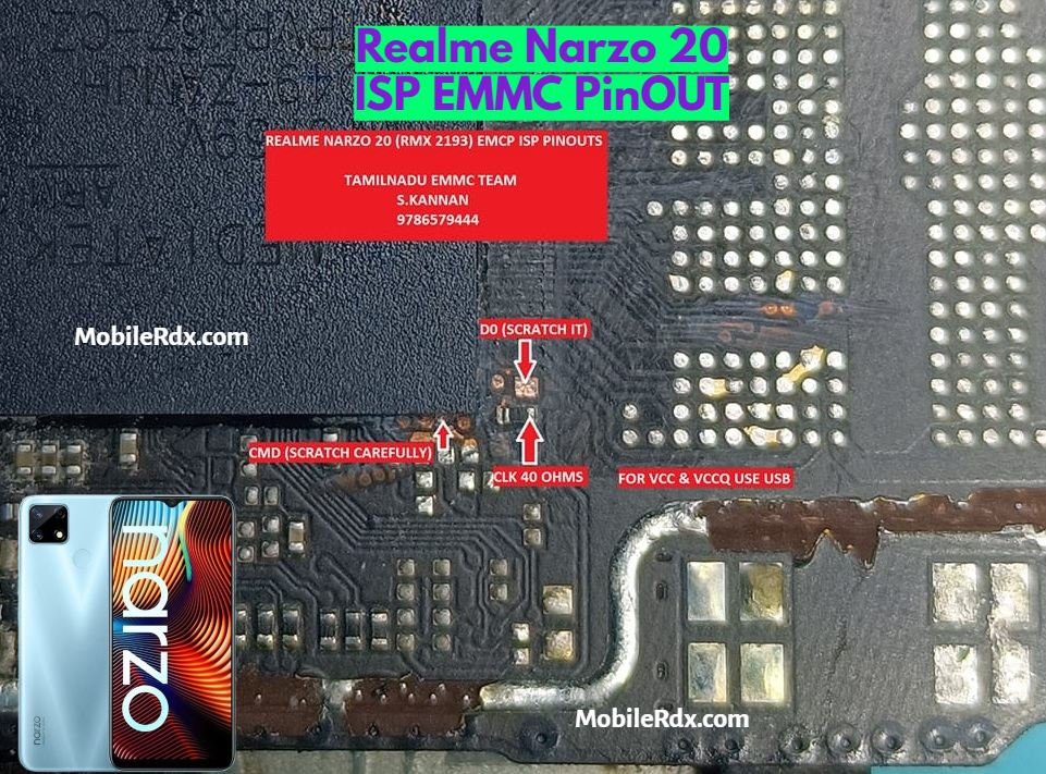 Realme Narzo 20 ISP EMMC PinOUT   Test Point